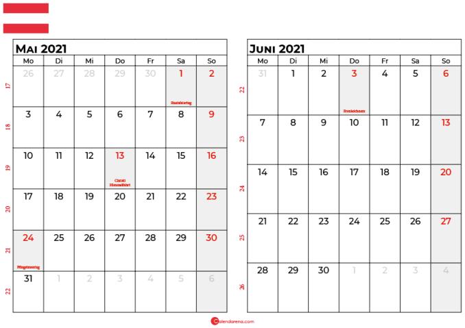 kalender mai juni 2021 Österreich