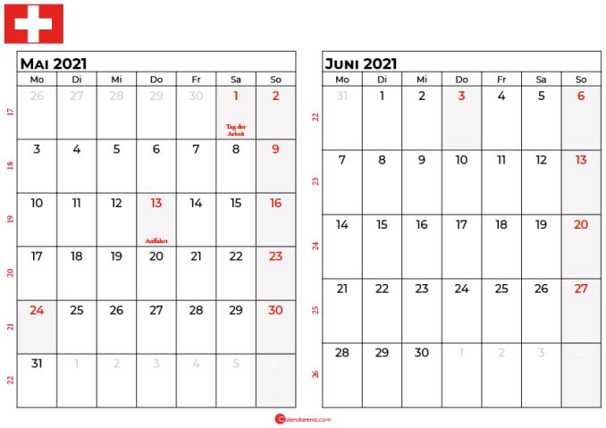 kalender mai juni 2021 Schweiz