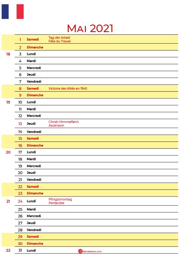 mai 2020 calendrier france