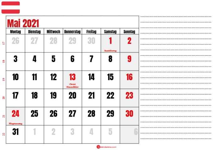 mai kalender 2021 Österreich