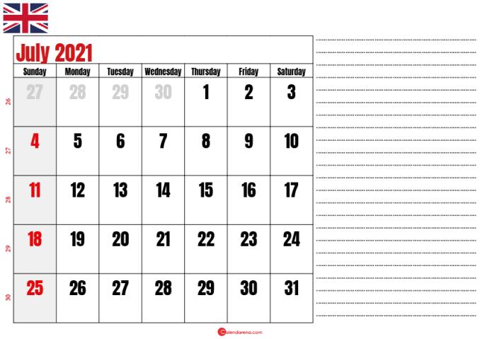2021 july calendar notes UK