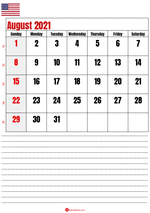 august 2021 calendar printable usa