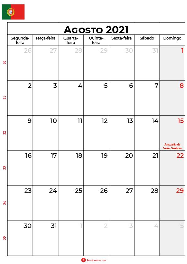 calendário de agosto de 2021 portugal