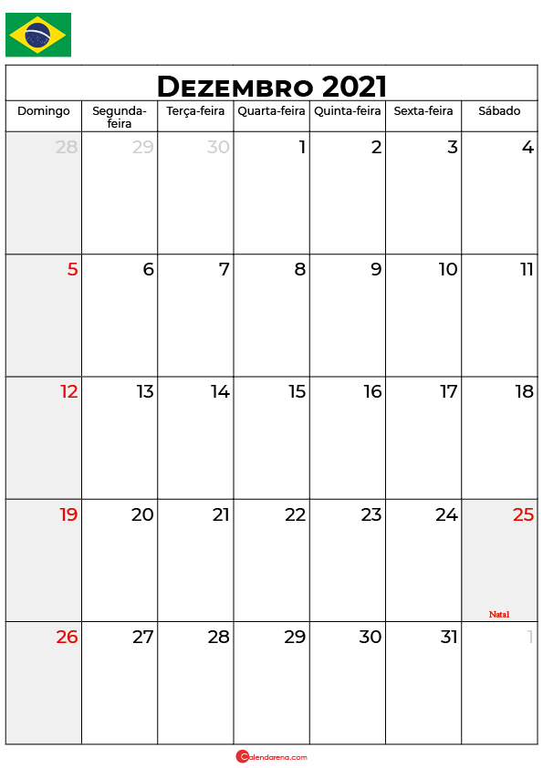 calendário de dezembro de 2021 brasil