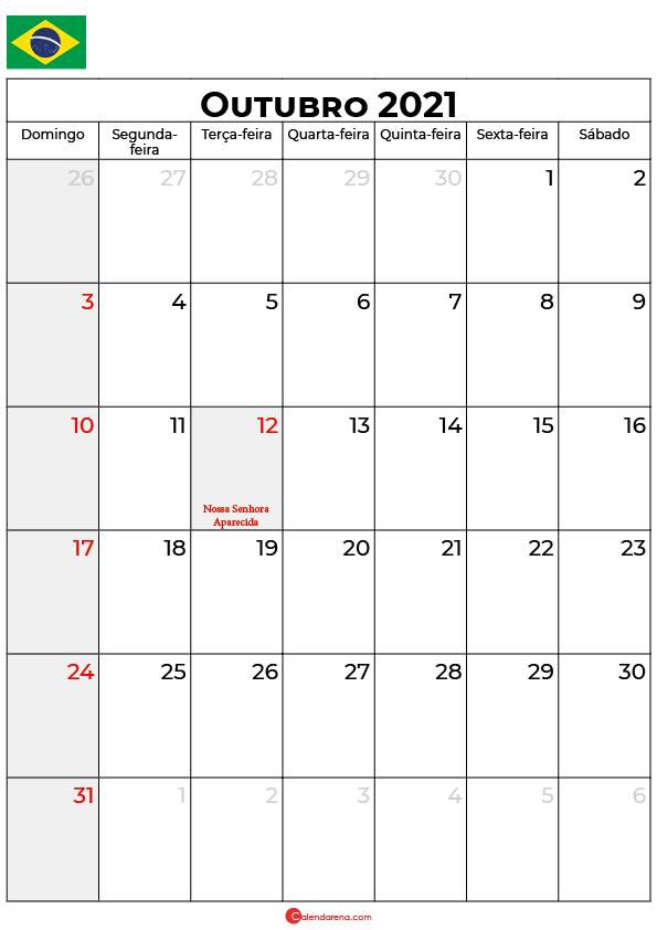 calendário de outubro de 2021 brasil