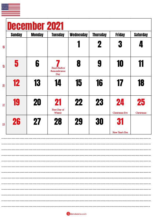 december 2021 calendar printable usa