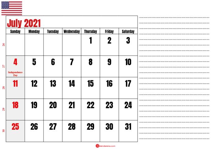july 2021 calendar printable usa