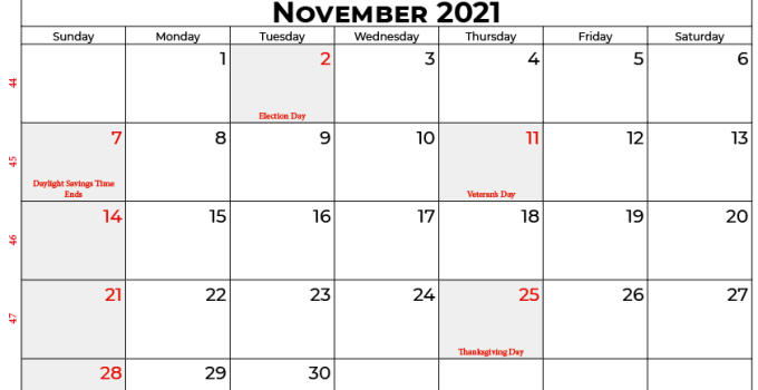 november 2021 calendar usa