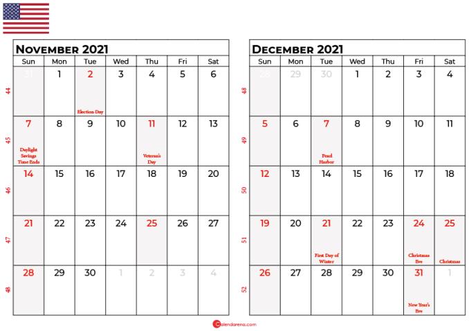 november and december 2021 calendar usa