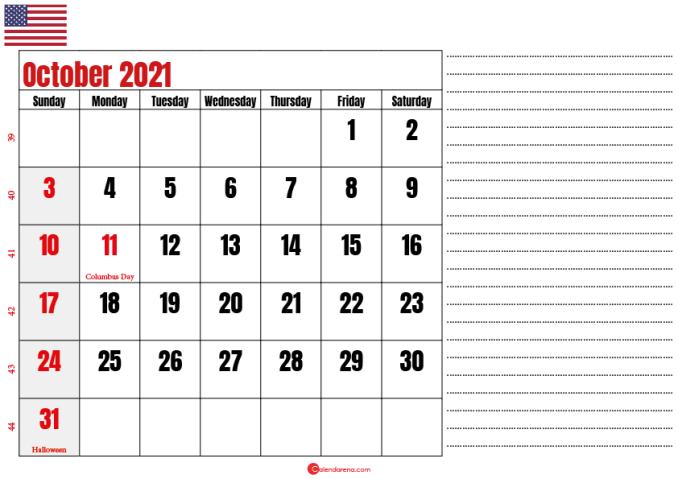 october 2021 printable calendar usa