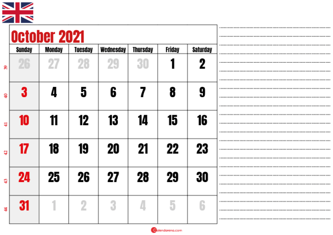 2021 october calendar notes UK