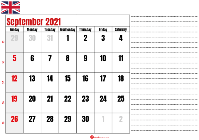 2021 september calendar notes UK