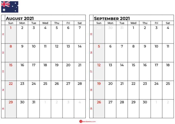 august and september 2021 calendar au