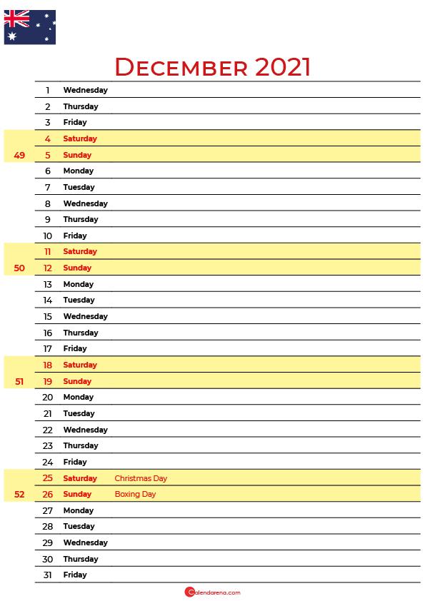 december 2021 printable calendar au