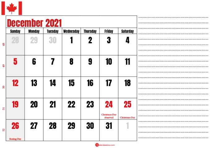 december 2021 printable calendar ca
