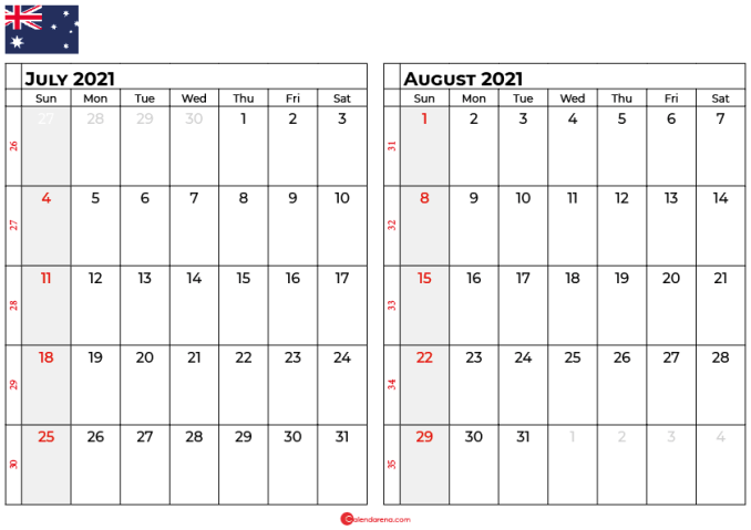 july and august 2021 calendar au