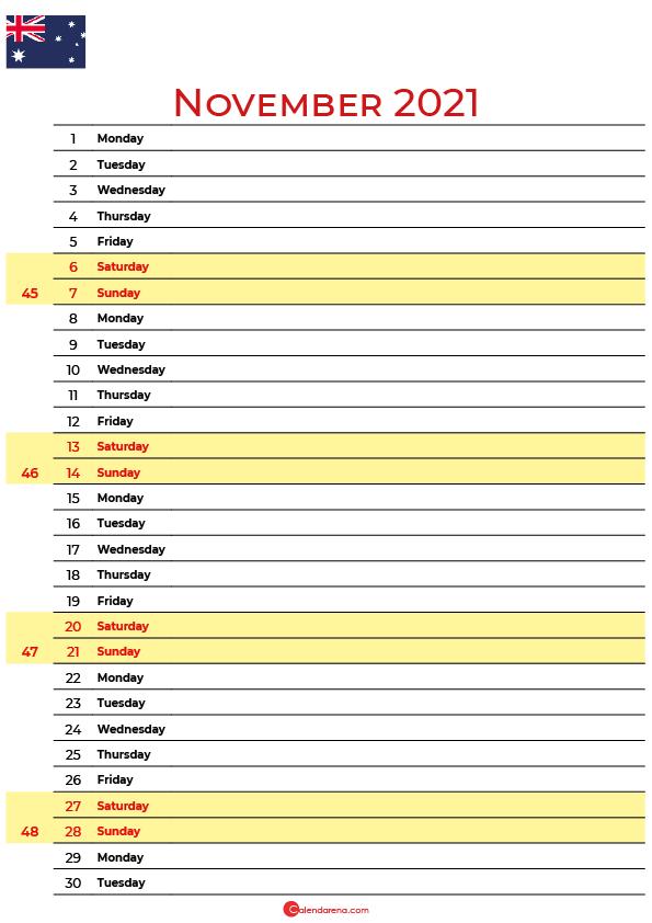 november 2021 printable calendar au