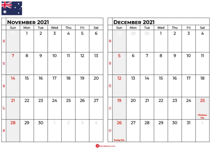 november and december 2021 calendar au
