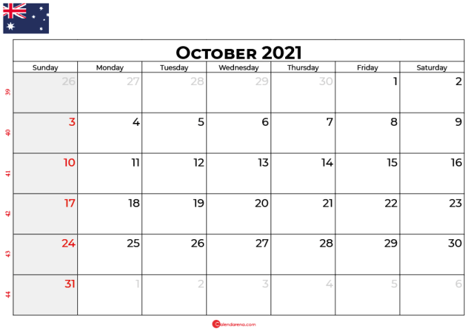 october 2021 calendar au