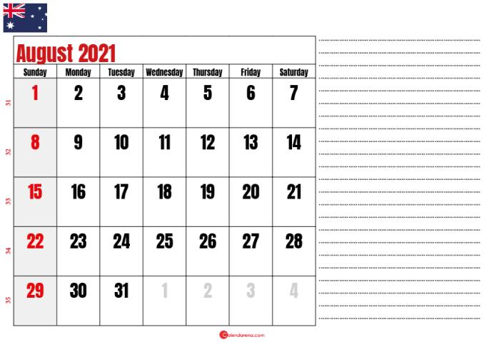 printable august 2021 calendar au
