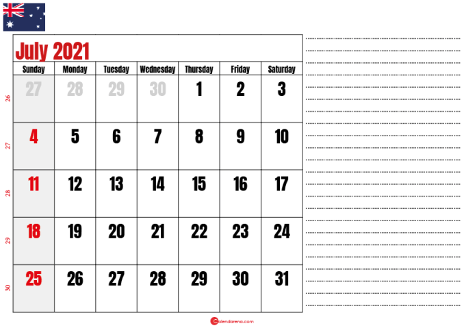 printable july 2021 calendar au