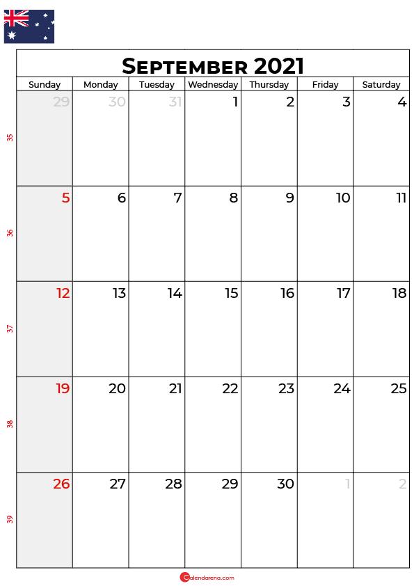 september calendar 2021 au