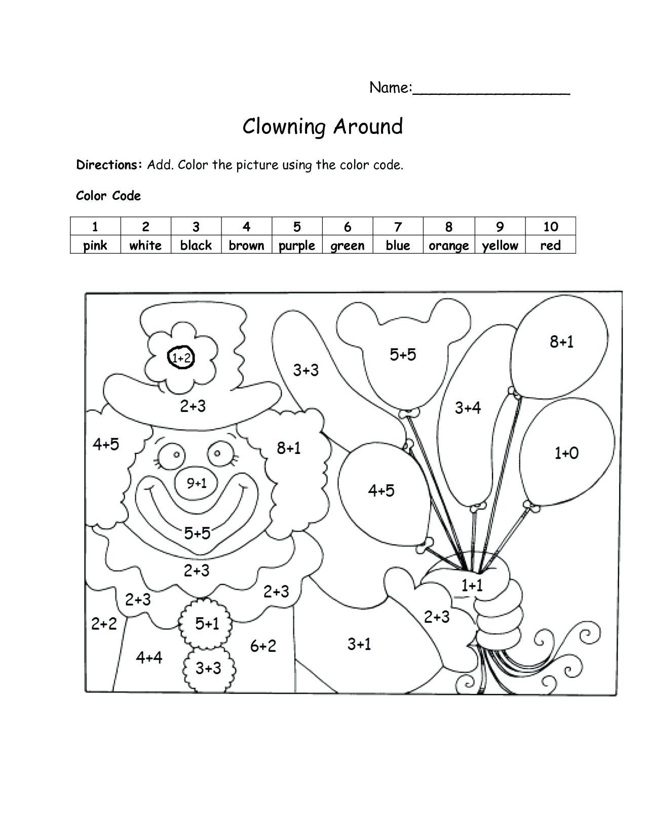 1st Grade Math Coloring Worksheets