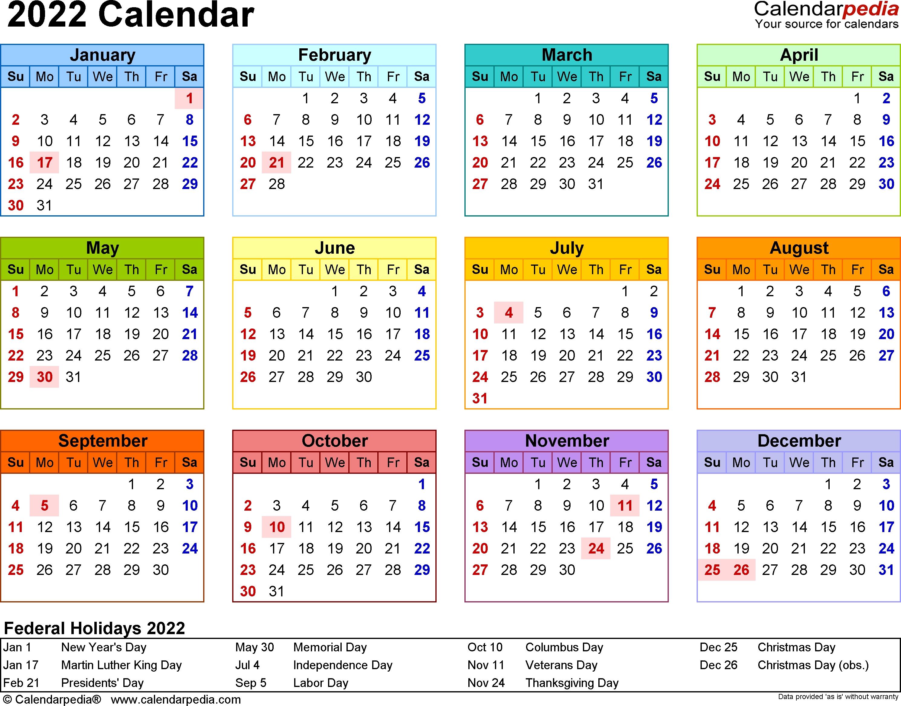 Printable calendar 2022, free download yearly calendar templates. Calendar Year At A Glance - Calendar Inspiration Design