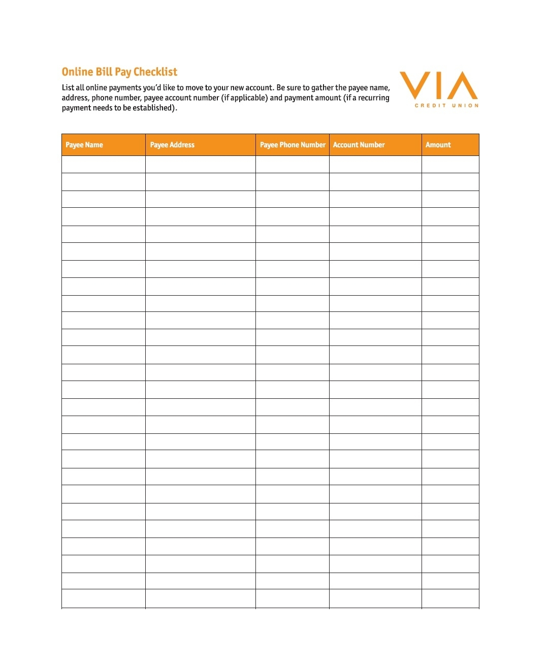 Blank Monthly Bill Payments Worksheet