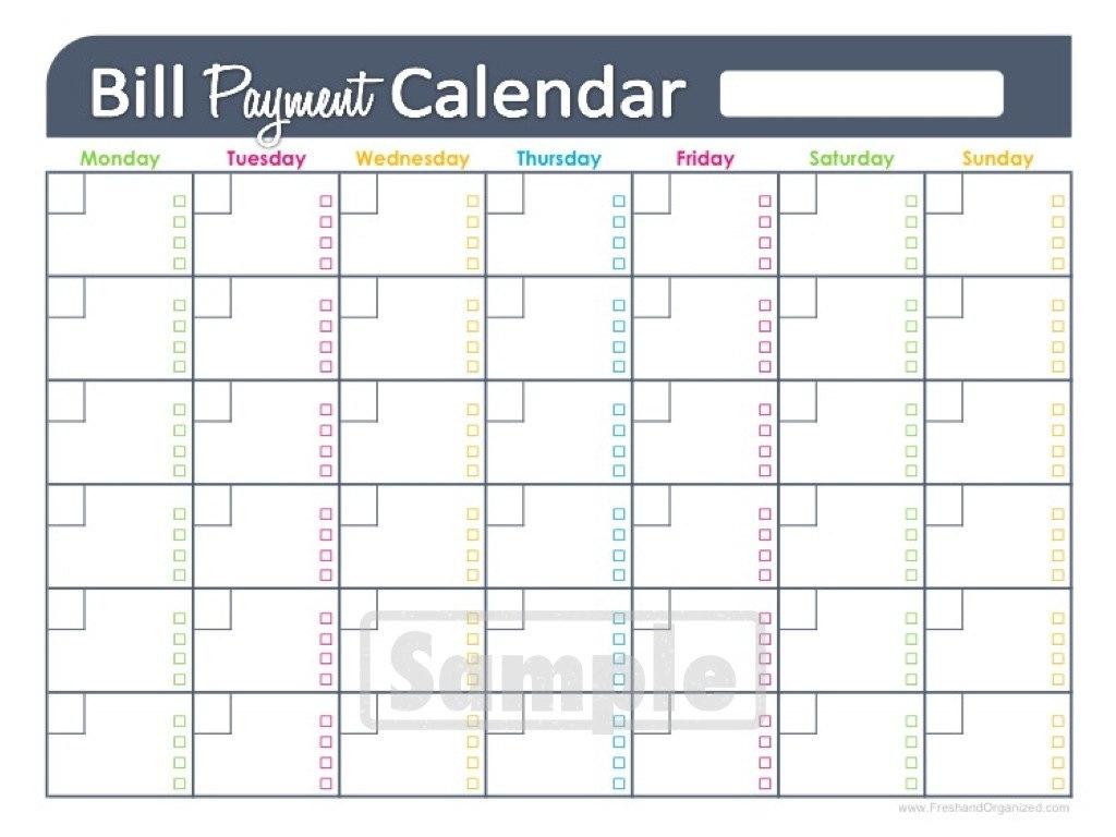 Free Printable Bill Budget Calendar