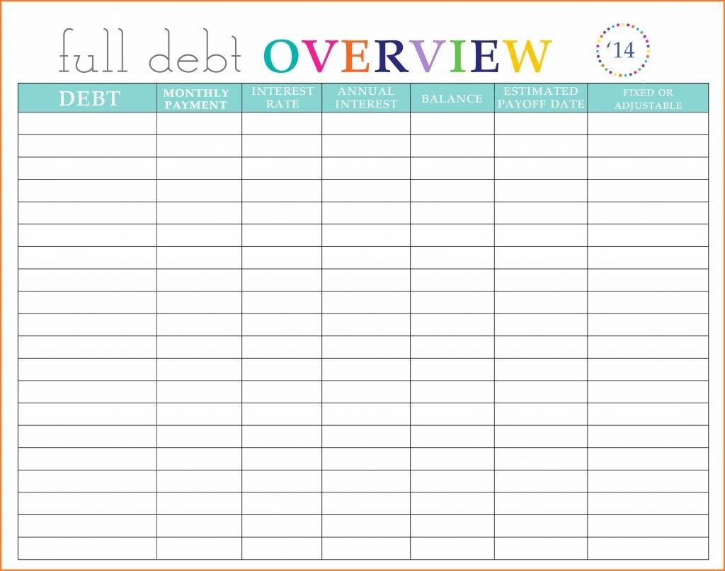 Free Printable Monthly Bill Chart