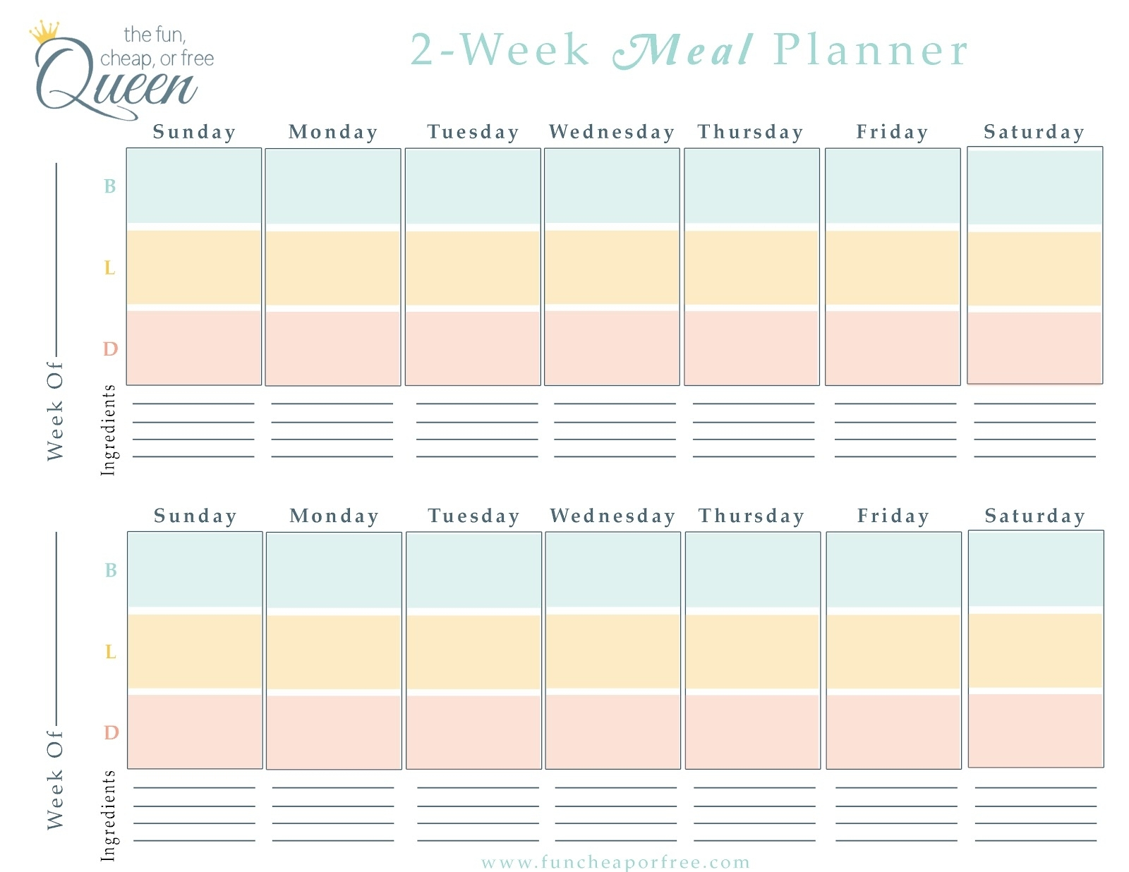 5 Week Lunch Menu Rotation Template