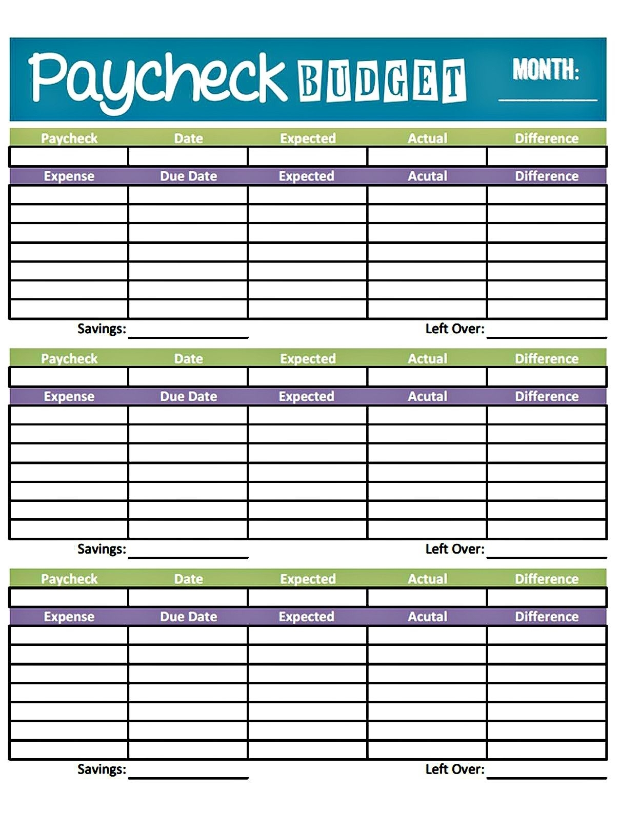 Simple Printable Monthly Bill Organizer Spreadsheet