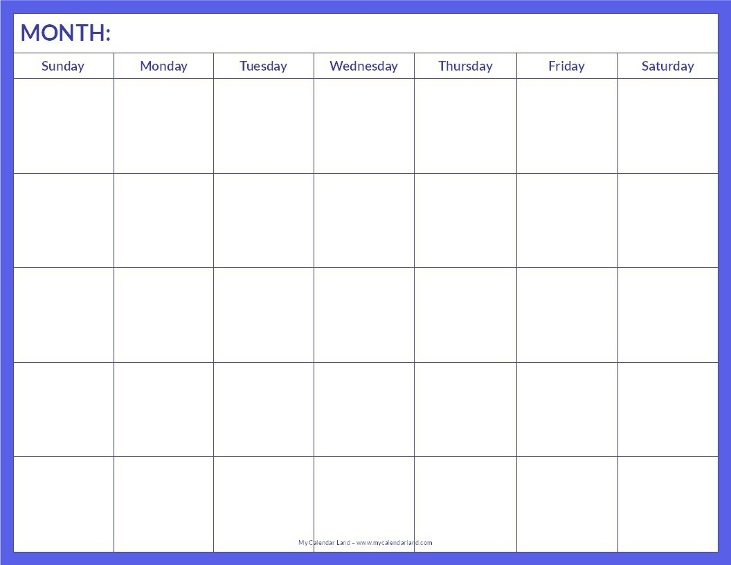 The template includes holidays & available as a … Blank Monthly Calendar Template Pdf - Calendar Inspiration ...