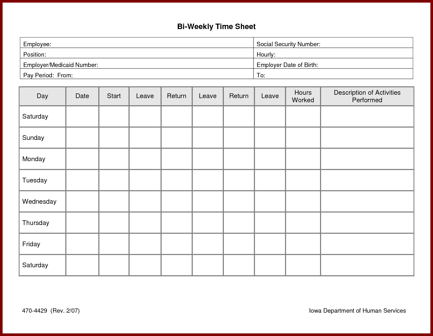 Printable Blank Hourly Income Worksheet