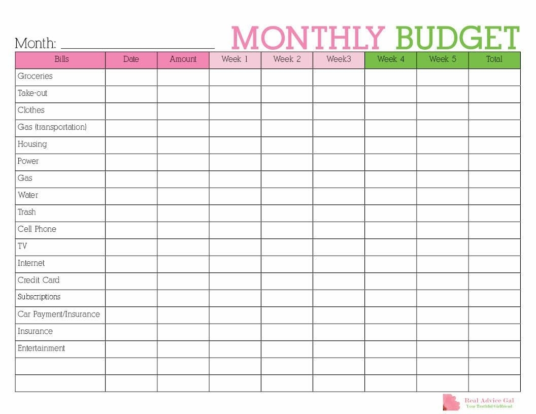 Free Printable Monthly Bill Tracker
