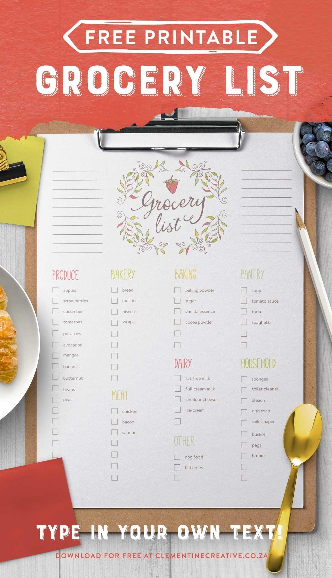 Blank Shopping List Template A4 Editable