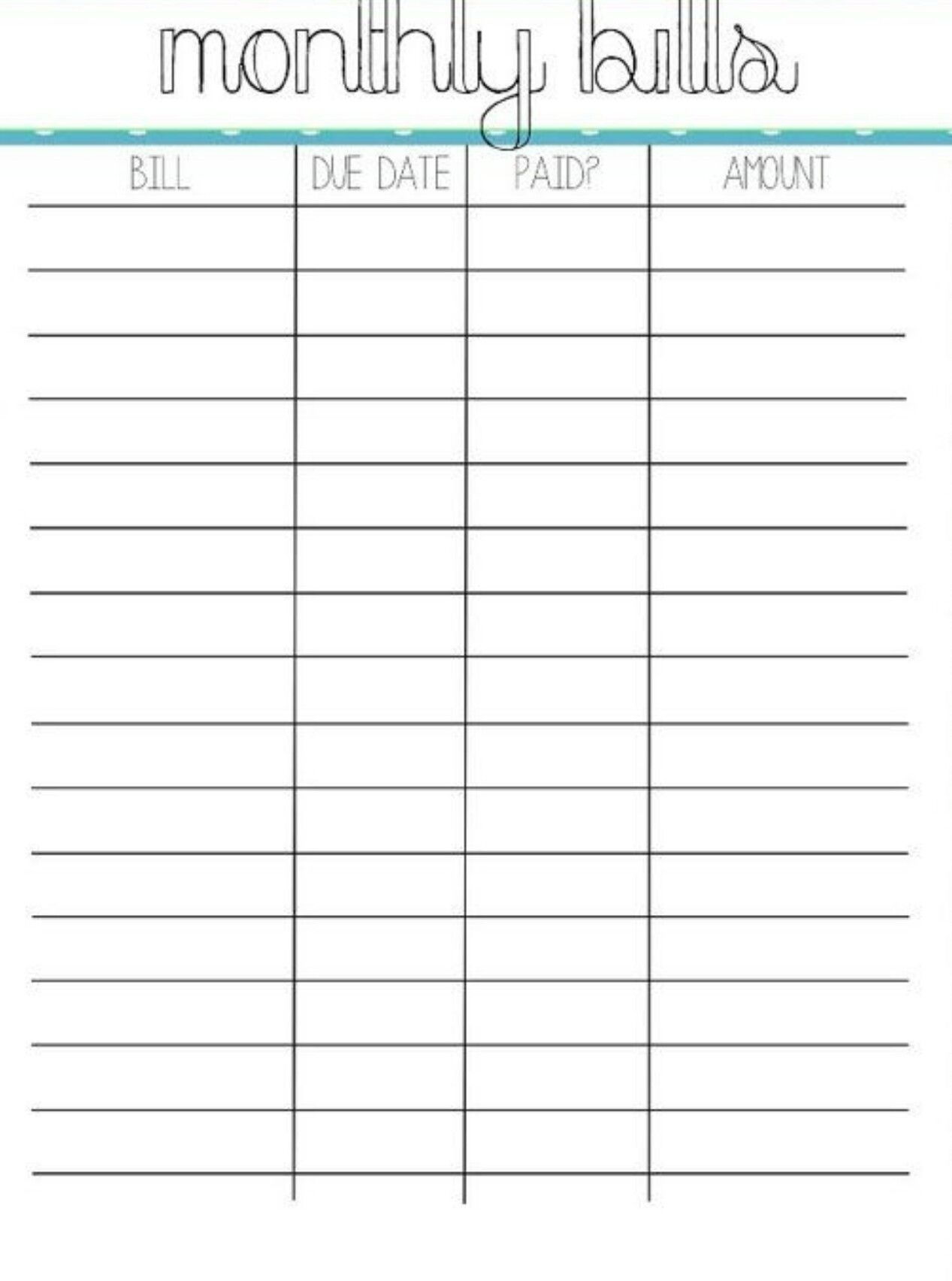 Printable Monthly Bill Paying Worksheet