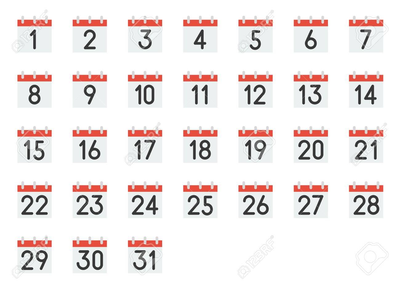 Printable Calendar Numbers 1 31