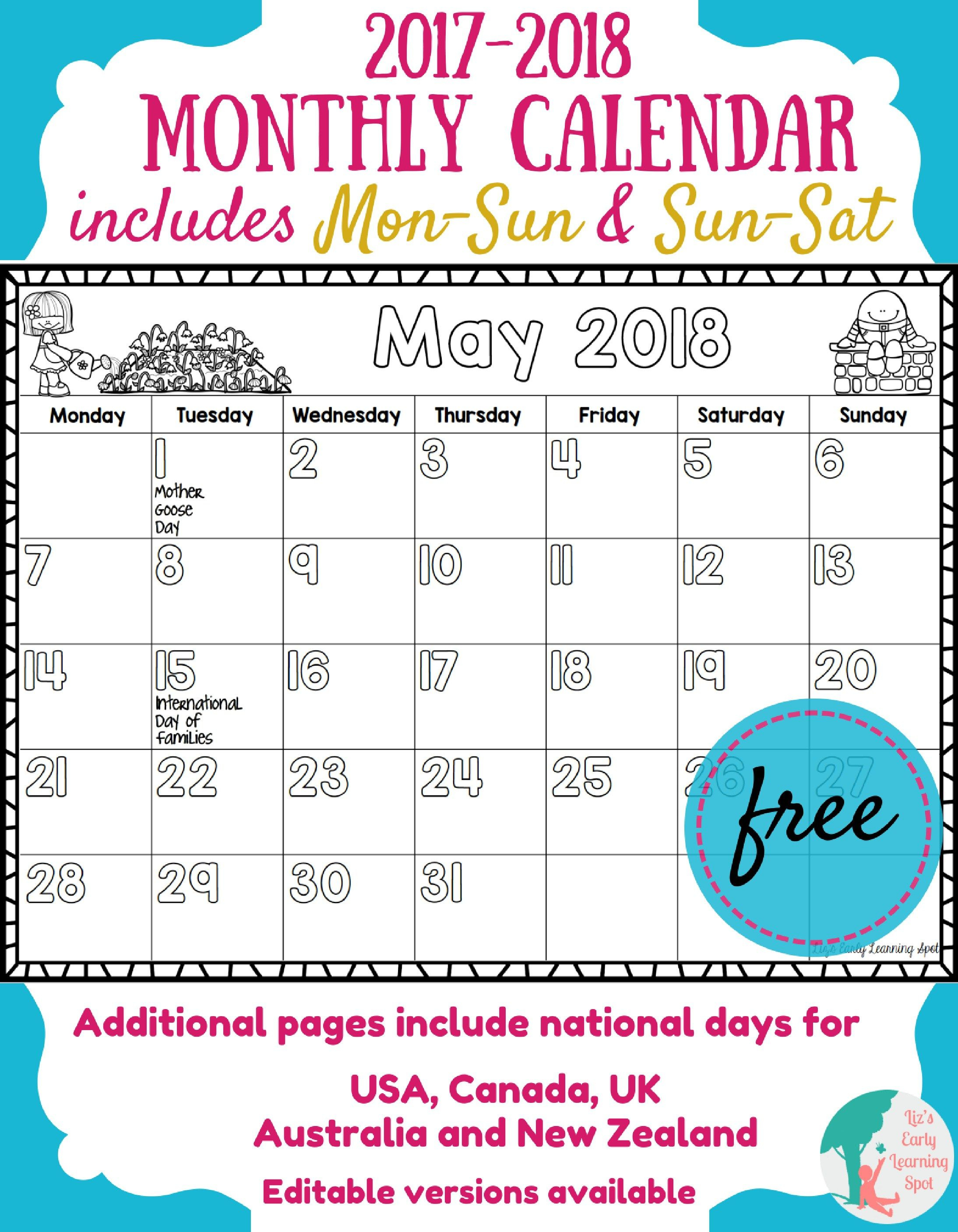 Free Printable Calendar For Kindergarten