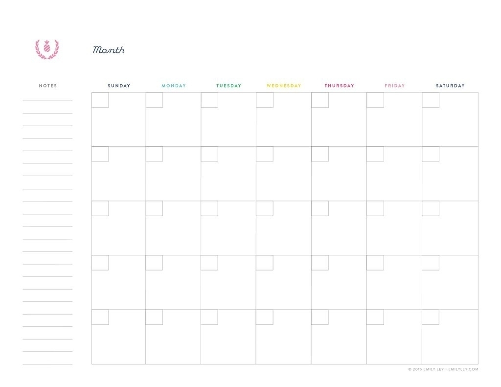A highly customizable monthly planner template for 2022 with prior and next month reference, holidays and large boxes notes space in a portrait format word and pdf document. Free Printable Undated Calendar   Calendar Printables Free ...