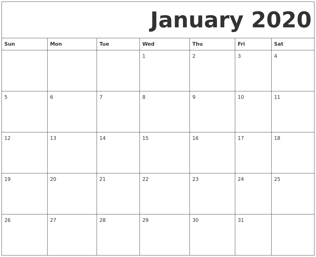 It's just a graphic of Fabulous Printable Monthly Calendars for 2020
