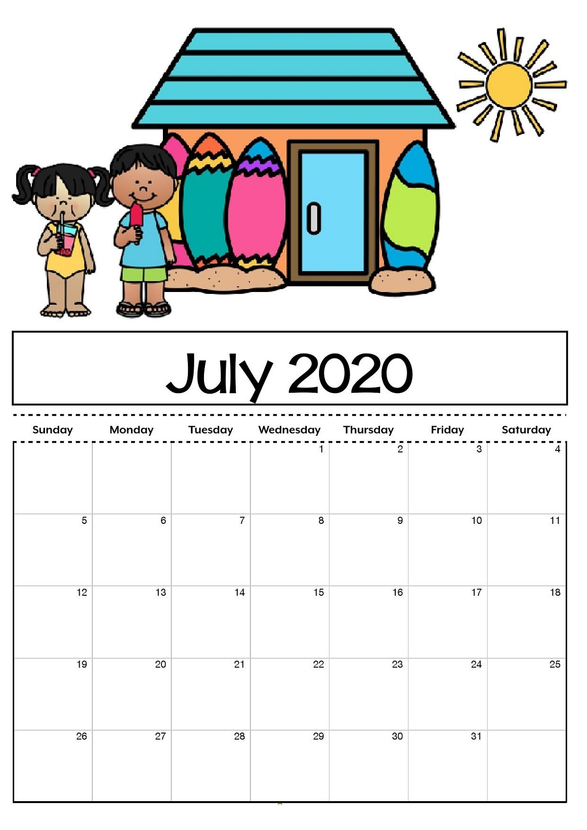 Free Printable Calendar For Kids