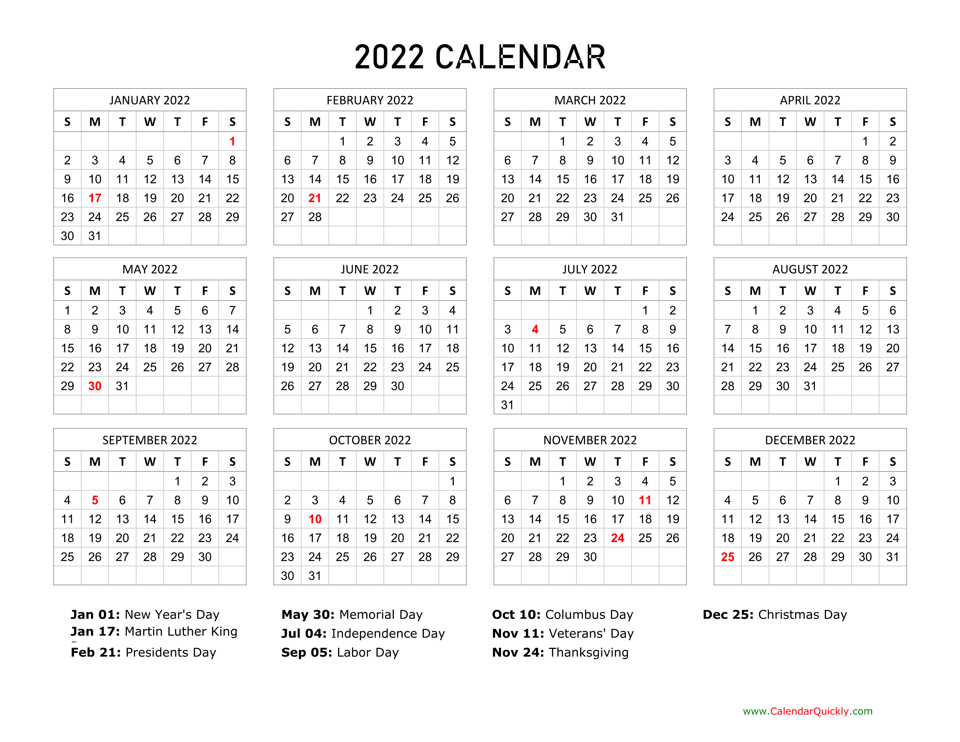 January is often the time when cabin fever sets in. 2022 Calendar with Holidays   Calendar Quickly