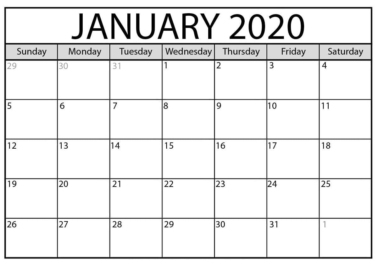 Free January Calendar Word Excel Printable Template