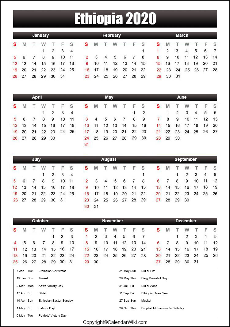 The holiday invites are pouring in. Printable Ethiopia Calendar 2020 With Holidays Public Holidays