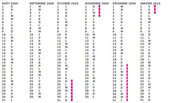 Calendrier scolaire 2010 zone B