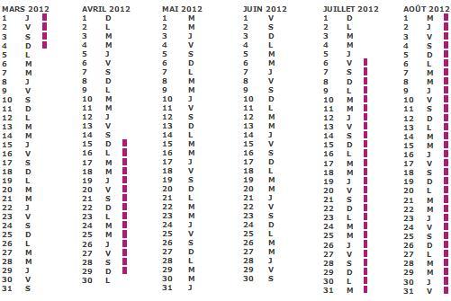Calendrier scolaire 2011 2012 zone c