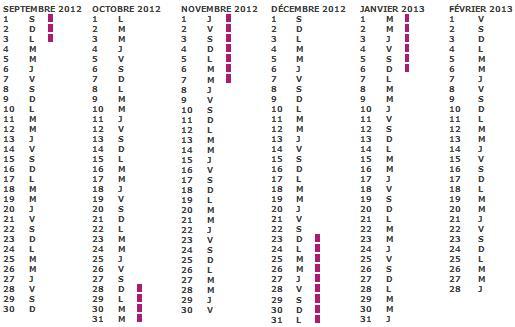 Calendrier SCOLAIRE pour VACANCES SCOLAIRE 2012 2013
