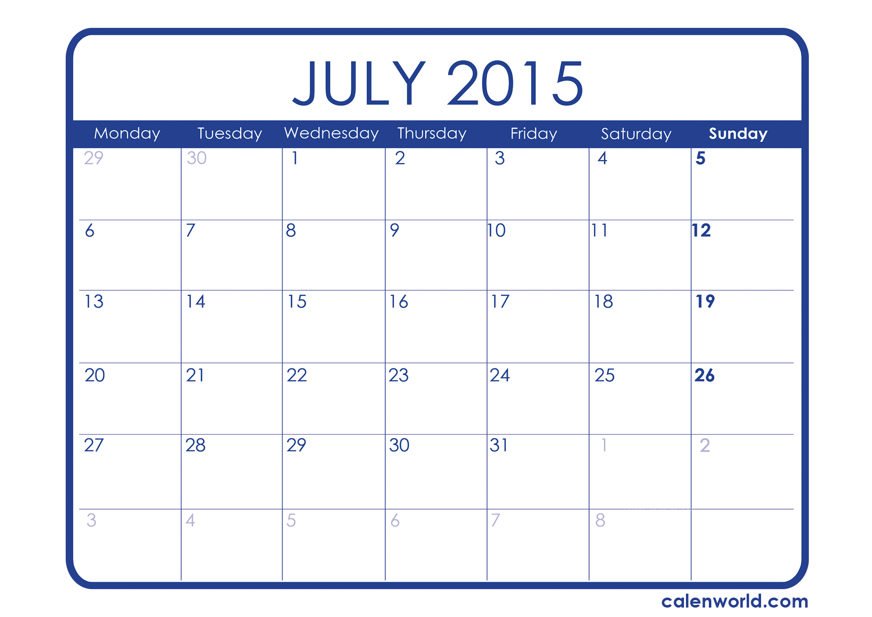 Printable paper.net also has weekly and monthly blank calendars. July 2015 Calendar Printable Calendars